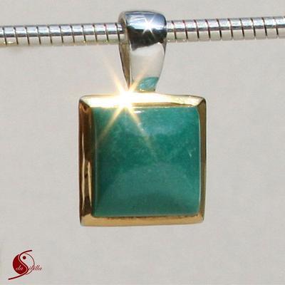 Silberanhänger, teilvergoldet, Türkis